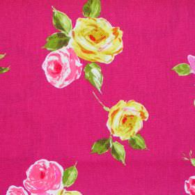 Ella - Cerise - Deep pink fabric with chintz yellow roses