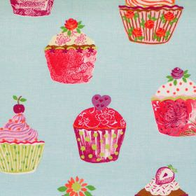 Cupcakes - Azure - Blue fabric with red purple and green cupcakes