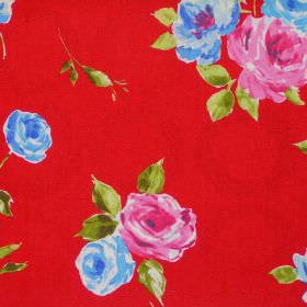 Ella - Scarlett - Blue and pink roses on scarlet red fabric