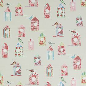 Aviary - Vintage - Modern white fabric with a flowery print pattern of birds and bird houses in vintage pink
