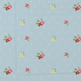 Amelia - Chintz - Light grey spotted fabric with country style chintz pink and yellow floral pattern