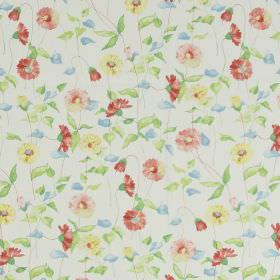Daisy Chain - Chintz - Classic country daisy design in chintz pink on white fabric