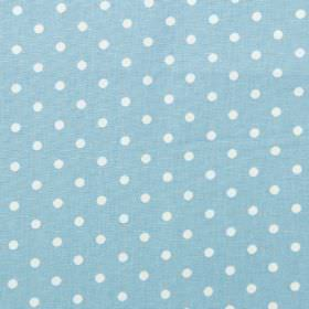Nancy - Sky - Sky blue fabric with white polka dots