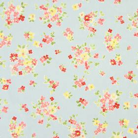 Posie - Sky - Classic country sky blue fabric with a pink floral pattern