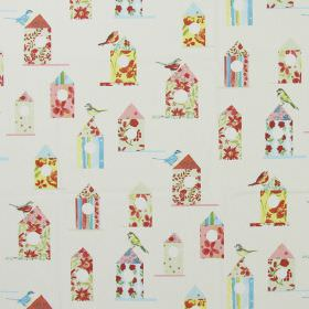 Aviary - Chintz - Modern white fabric with a flowery print pattern of birds and bird houses in chintz pink