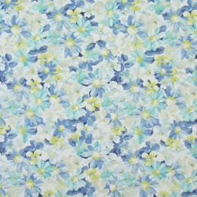 Pot Pourri - Cornflower - Classic fabric with cornflower blue country style flowers printed