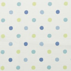 Millie - Cornflower - White vintage fabric with cornflower blue spots