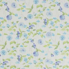 Daisy Chain - Cornflower - Classic country daisy design in cornflower blue on white fabric