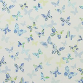 Butterfly - Cornflower - Modern white fabric with cornflower blue and yellow butterfly print