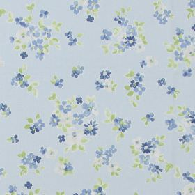 Posie - Cornflower - Classic country dirty white fabric with a cornflower blue floral pattern