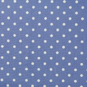 Nancy - Cornflower - Cornflower blue fabric with white polka dots