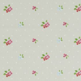Amelia - Vintage - Light grey spotted fabric with country style vintage pink floral pattern