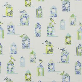 Aviary - Cornflower - Modern white fabric with a flowery print pattern of birds and bird houses in cornflower blue