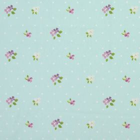 Amelia - Lavender - Light grey spotted fabric with country style lavender purple and yellow  floral pattern