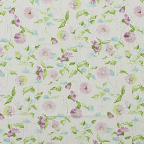 Daisy Chain - Lavender - Classic country daisy design in lavender purple on white fabric