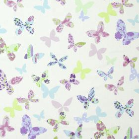 Butterfly - Lavender - Modern white fabric with lavender purple and light blue butterfly print