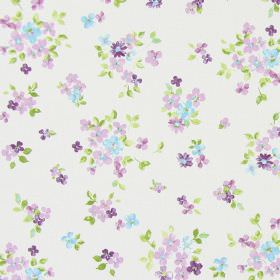 Posie - Lavender - Classic country white fabric with a lavender purple floral pattern