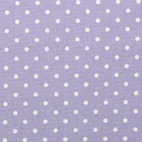 Nancy - Lavender - Lavender purple fabric with white polka dots
