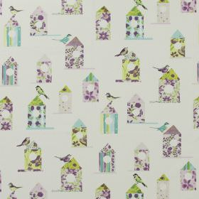 Aviary - Lavender - Modern white fabric with a flowery print pattern of birds and bird houses in lavender purple