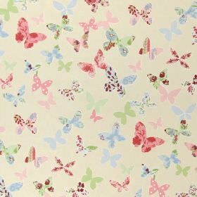 Butterfly - Vintage - Modern white fabric with vintage pink and blue butterfly print