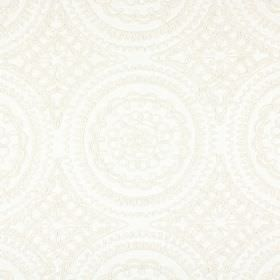 Bobbin - Ivory - Fabric blended from a variety of off-white coloured materials, embroidered with ivory coloured ornate circles and patterns