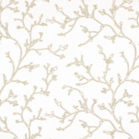 String - Ivory - Oyster coloured lines depicting branches on a background of white fabric made from polyester, cotton, viscose and linen