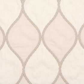 Braid - Ivory - Beige wavy lines running vertically down viscose, linen, cotton and polyester blend fabric in white and very pale beige