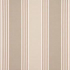Cord - Natural - 100% cotton fabric with a repeated, simple stripe design in bright white and coffee brown colours