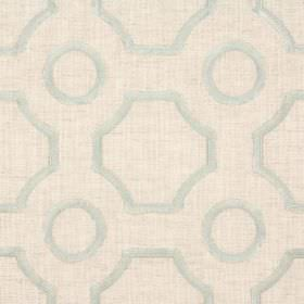 Clip - Peppermint - Light beige coloured fabric blended from viscose and linen behind geometric shapes embroidered in a pale seafoam colour
