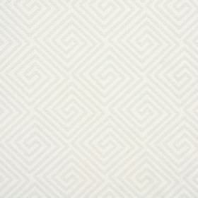 Lattice - Peppermint - Cotton and polyester blend fabric in white and light grey, patterned with swirls which are square-shaped and angular