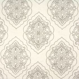 Brocade - Ivory - Large, ornate, pewter coloured shapes and designs embroidered onto bright white blended fabric