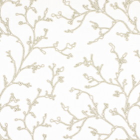 String - Natural - Blended fabric in white, covered with a pattern of branches defined by their outlines made up of beige coloured lines