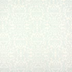 Damask - Peppermint - Large but very subtle pattern covering viscose, polyester and linen blend fabric in pale shades of green and grey