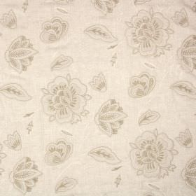 Crochet - Parchment - Cream, off-white and pale gold floral embroidered blended fabric on a plain background in light beige