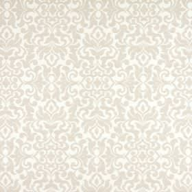 Damask - Natural - Large, ornate, beige coloured patterns on a white fabric background made from viscose, polyester and linen
