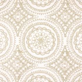 Bobbin - Natural - Ornately detailed patterns and circles in light beige, on polyester, cotton, viscose and linen blend fabric in white
