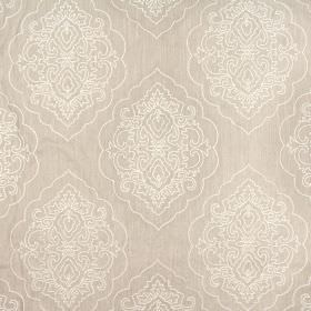 Brocade - Natural - Limestone coloured viscose-linen blend fabric with ornate metallic embroidery in large patterns