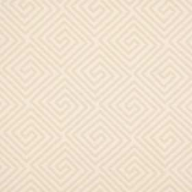 Lattice - Natural - Repeated square-shaped swirls covering fabric blended from cotton and polyester in two similar shades of creamy beige