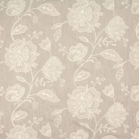 Crochet - Natural - Floral patterned warm biscuit coloured blended fabric, with a design in various shades of white and light brown