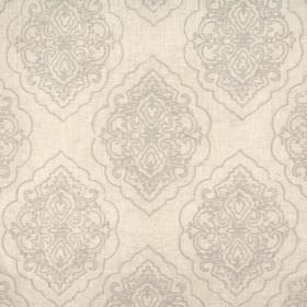 Brocade - Parchment - Viscose and linen blend fabric in light grey, with metallic embroidery in a very similar, subtle light grey colour