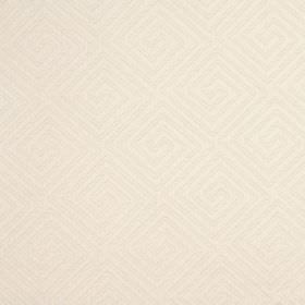 Lattice - Parchment - Very pale cream coloured cotton and polyester blend fabric behind a design of square-shaped swirls in creamy beige