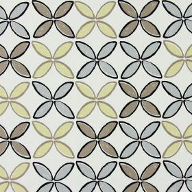 Pop - Pebble - Brown, cream and grey leaf shapes printed with black outlines on a white background of fabric made from cotton