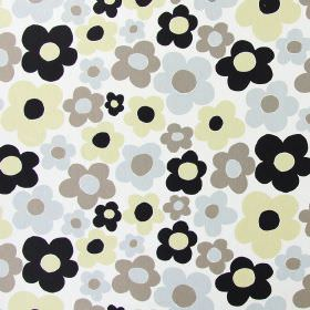 Fab - Pebble - White cotton fabric printed with simple five-petal flowers in brown, cream, grey and black