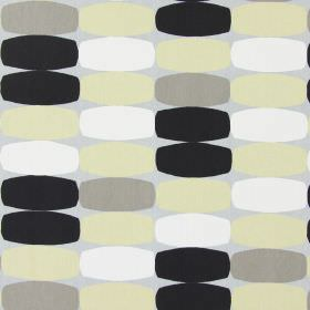 Humbug - Pebble - Brown, cream, white and black rectangles with bulging edges printed on a grey cotton fabric background
