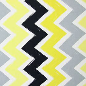 Ziggy - Zest - Neat light yellow, black, mustard yellow and grey zigzag stripes on a background of white cotton fabric