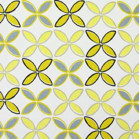 Pop - Zest - Simple leaf print patterned white cotton fabric, in shades of yellow, grey and black
