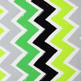 Ziggy - Lime - Light green, bright green, black and grey zigzags running down this cotton fabric in white