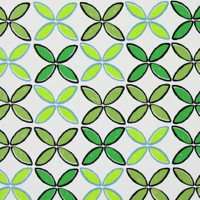 Pop - Lime - White cotton fabric printed with rows of simple leaf shapes in several different shades of green