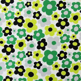 Fab - Lime - Simple bright green, lime green, grey and black flowers patterning fabric made from white cotton