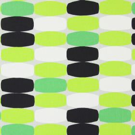 Humbug - Lime - Light grey cotton fabric with a pattern of light green, bright green, black and white rectangles with convex edges
